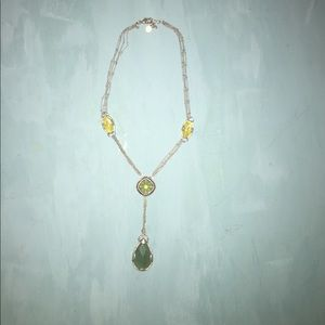 Green & yellow silvertone costume jewelry